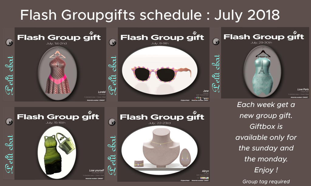 Weekly Flash Groupgifts : July schedule graphic