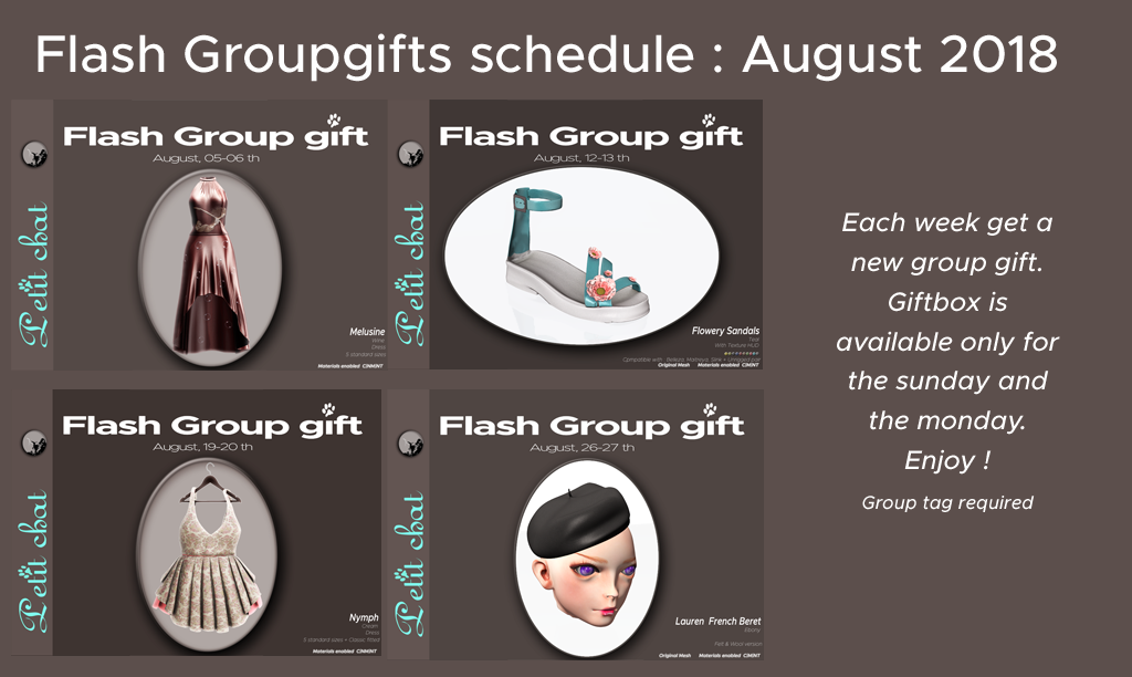 Weekly Flash GroupGift Shedule : August 18 graphic
