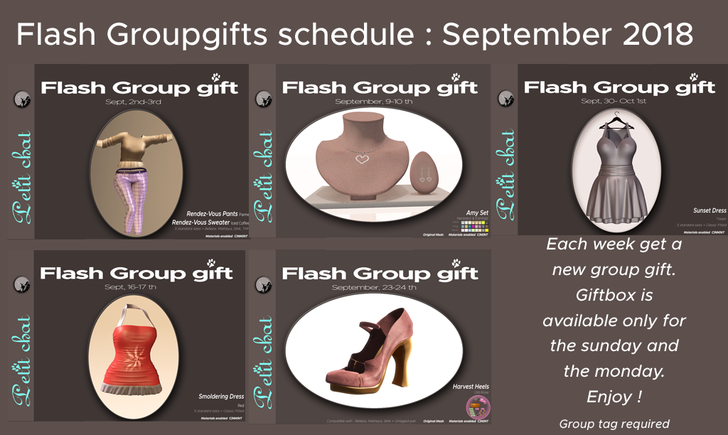 Flash groupgifts : September Schedule graphic
