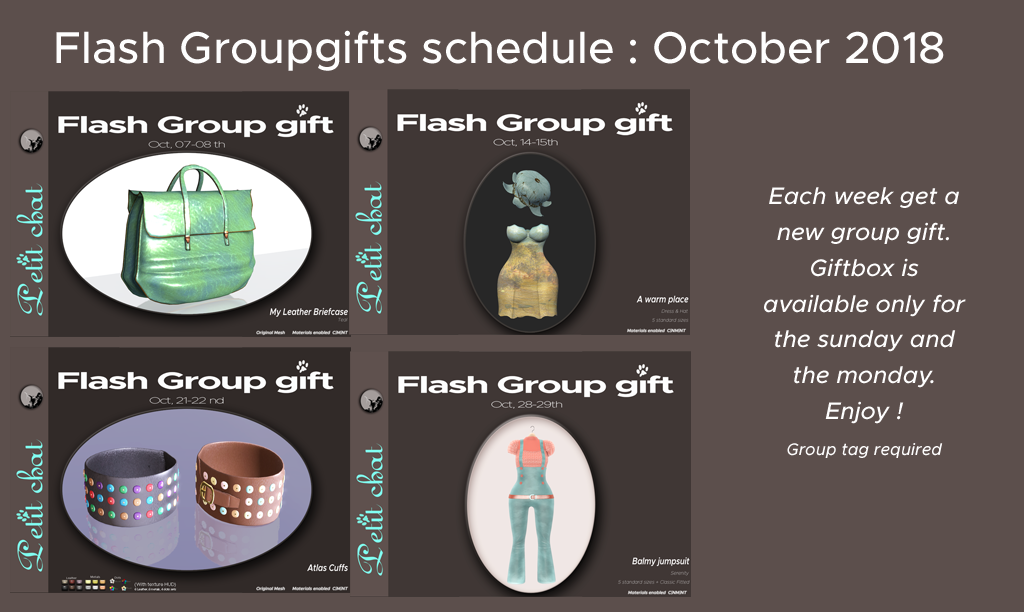 Flash groupgifts : October Schedule graphic