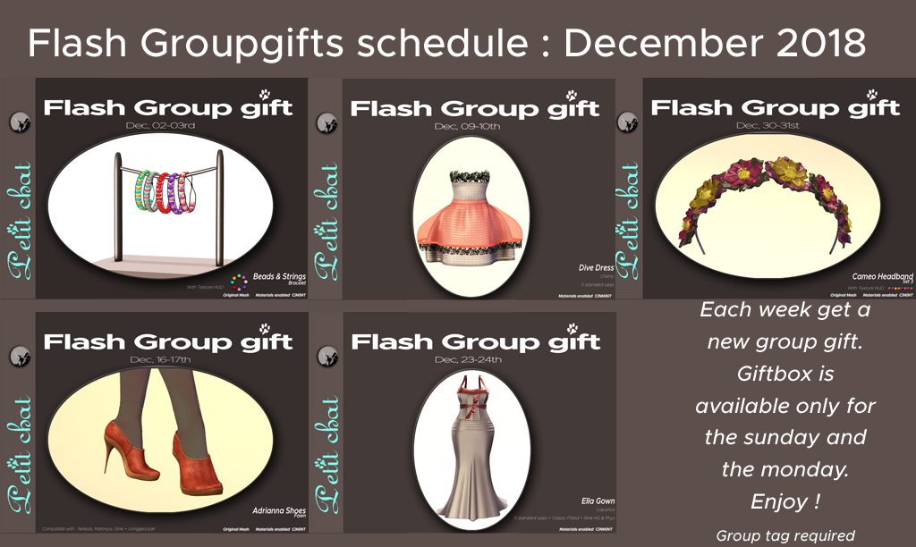 Flash GroupGifts : schedule for December is out ! graphic