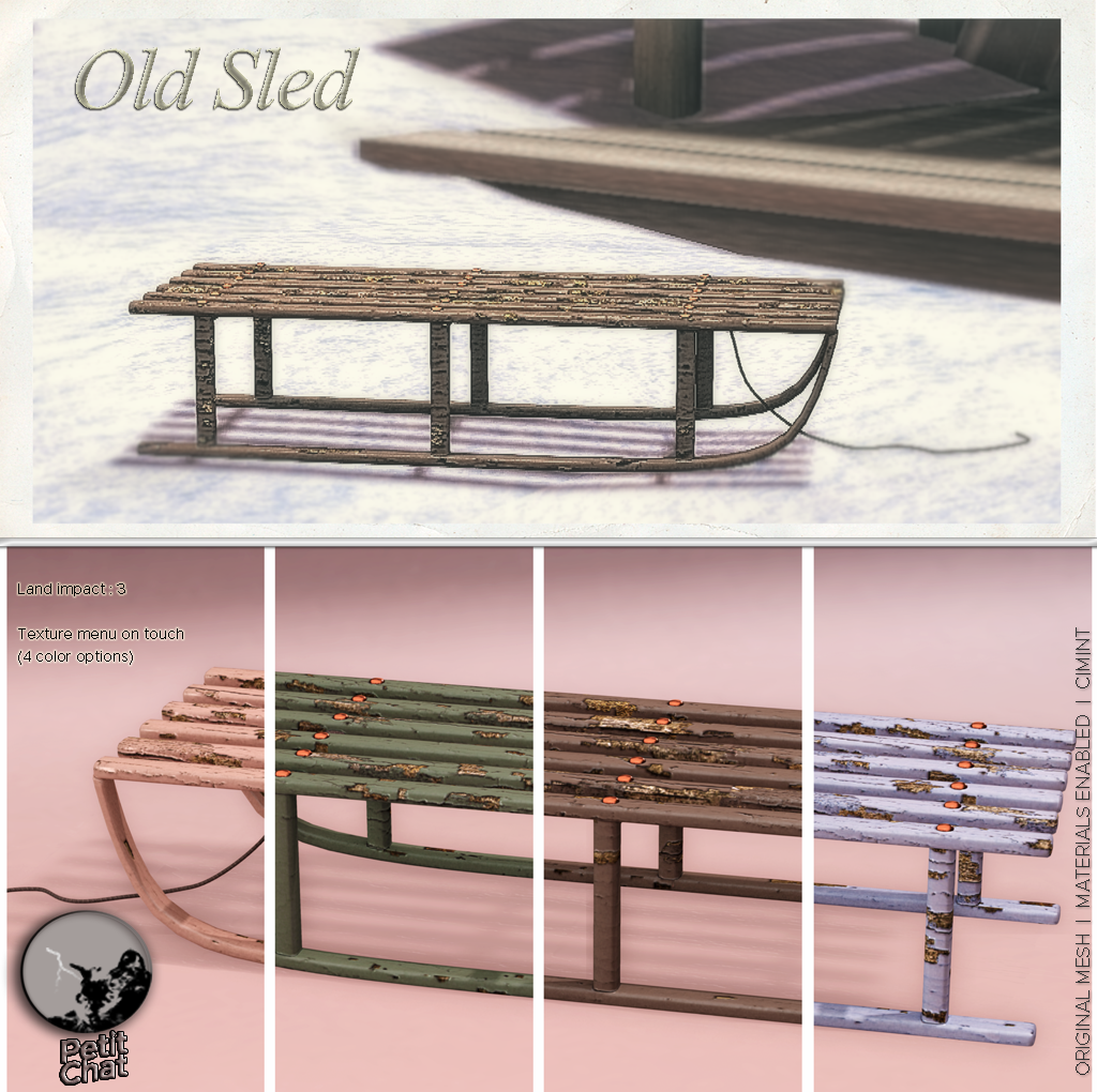 "Exclusive gift ""Old Sled"" @ SL Winter Shop & Hop ! graphic"