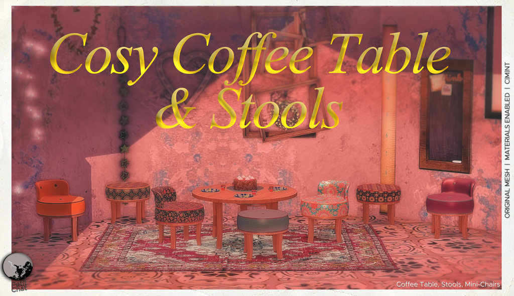 Cosy Coffee Table & Stools : new release ! graphic